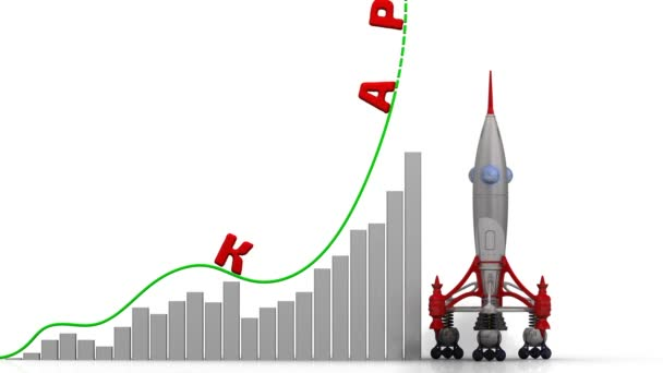 The graph of career growth. Graph of rapid growth with word CAREER (Russian language) and rocket launch. Footage video