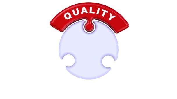 Zlepšení standardů kvality. Nápis zlepšení standardů kvality na puzzle ve tvaru kruhu. Záznam videa