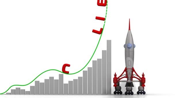 The graph of clients growth. Graph of rapid growth with red word CLIENTS and rocket launch. Footage video