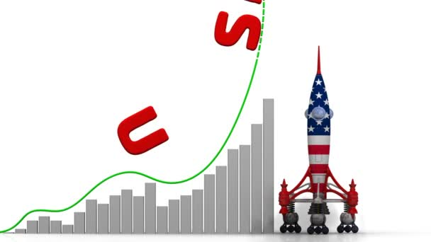 The graph of USA success. Graph of rapid growth with red word USA and rocket (in the colors of the United States of America flag) launch. Footage video