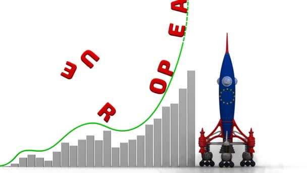 The graph of European Union success. Graph of rapid growth with red word European Union and rocket (in the colors of European Union flag) launch. Footage video
