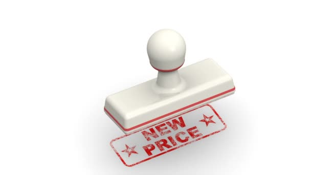 New price. The stamp leaves a red imprint NEW PRICE on white surface. Footage video