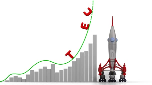 The graph of technology growth. Graph of rapid growth with red word TECHNOLOGY and rocket launch. Footage video