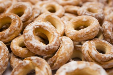 Sweet bread. The Russian desserts. Sushki are traditional Eastern European small, crunchy, mildly sweet bread rings eaten for dessert, usually with tea or coffee