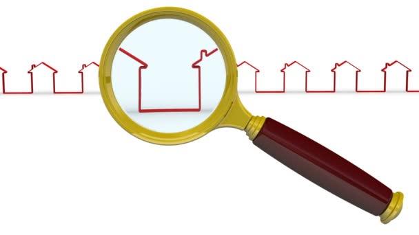 Suche nach Immobilien. die Lupe und die sich bewegenden symbolischen Häuser in einer Reihe auf einer weißen Fläche. das Konzept der Immobiliensuche. Videoaufzeichnung