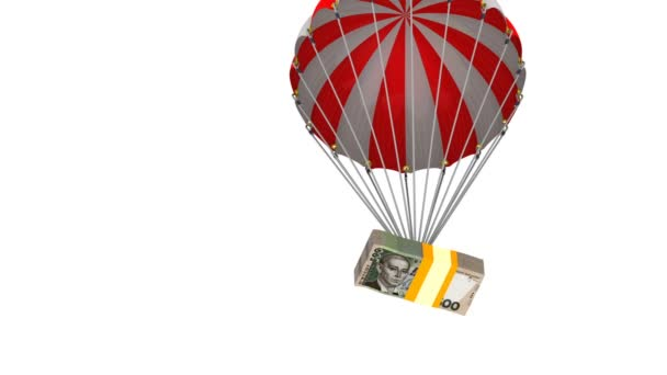 A pack of Ukrainian money is dropping by parachute. A pack of Ukrainian hryvnia flying on a parachute. Footage video