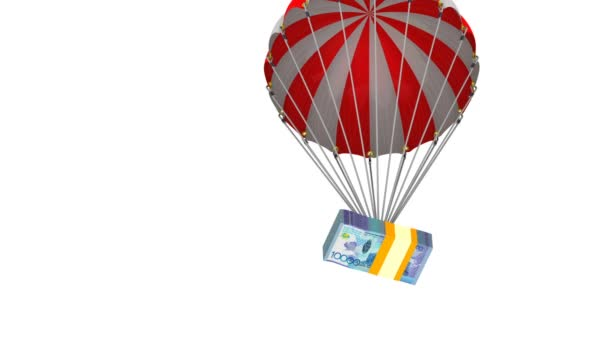 A pack of Kazakhstan banknotes is dropping by parachute. A pack of Kazakhstan currency (is made from a banknote of 1000 Kazakhstan tenge) flying on a parachute. Footage video