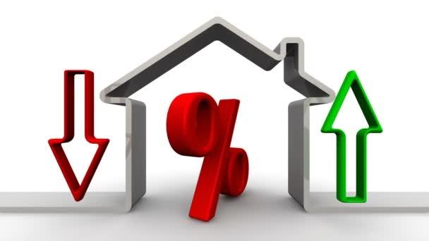 Změna úroků z hypotéky. Otáčející se červený symbol uvnitř symbolického domu. Šíp ukazuje vzestup a pokles procenta. Video záběry