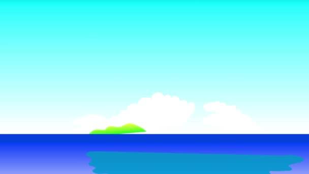 Lineáris Scaling Animation of Warm Hawaiian Island Hatékony vörös virágok és Palm Evergreen létrehozása minta felett Rich Hill és csónak a tiszta kék óceánon Hasonló felé tehetetlen Éden