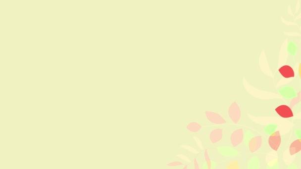 Rozpustit animační grafiku květin a rostlin s různými měkkými podzimními barvami Rychle se objevují na pravém dolním okraji žlutého pozadí se dvěma ptáky s kudrnatými erby stojící při pohledu na dlouhé místo vlevo pro text