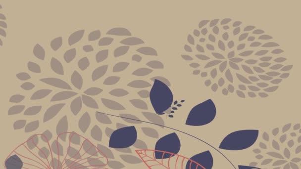 Rychlost ramping a škálování pohybu efekt aplikován na měkké podzimní design animace s modrými a červenými květy různých typů tónů a tvarů některé objevují na obrazovce a další padající vytvoření lesa