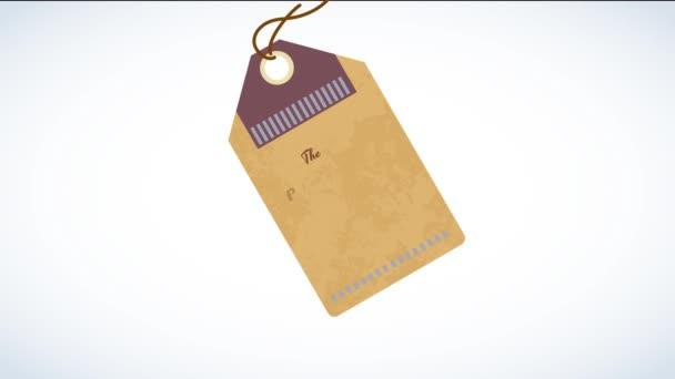 Tavaszi és Scaling Motion of Coffee Termék Klasszikus Tipográfiája ellentétes méretek elterjedt mellett egy barna karton Kupon egy zsinór felé Hang lebeg egy üres vászon
