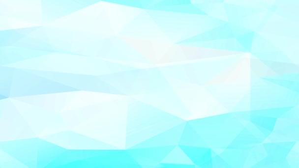 Verflochtene kaleidoskopische Bewegung hellblauer und weißer geometrischer Dreiecke, die 3D-Effekt bilden und Diamantköpfe und Reliefs bilden, die Liquid Curl ähneln