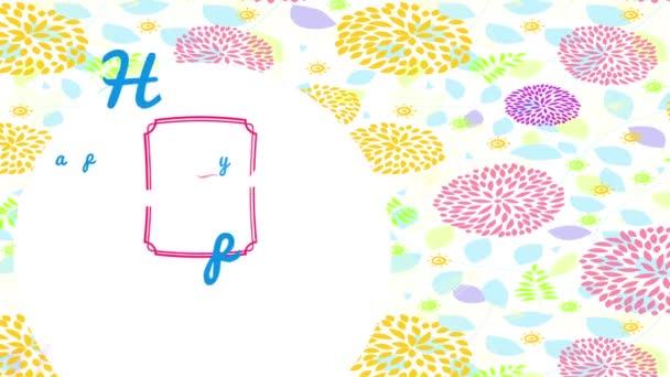 Ugrál tavaszi skála és diavetítés a boldog Valentin-nap érett finomított Cursive tipográfia be és ki a kis határ felett szép jelenet szirmokkal illusztráció