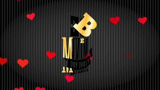 Bouncing Flat Elements Forming Valentines Day Mafia Fancy With Reference Be Pit I Romance You Written With Yellow Stylish Typography Over Black Striped Scene