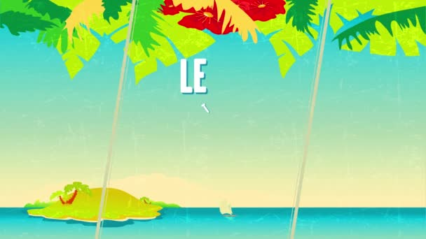 Linear Bounce And Spin Animation Of Lets Go To The Beach Written With Fat Font Typography Above 60S Style Background With Boat Approaching Lost Island Under Clear Summer Sky