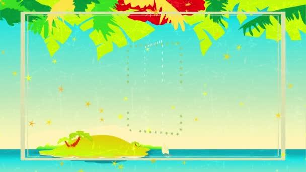 Inerciális ugrálás és forgó animáció a meleg tengerparti bankett hamarosan írt antik ellentételezés az ég felett elszigetelt egy nyári napon és hawaii koszorú sugalló Elegáns szünet javaslat