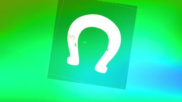 Lineární odraz a spin animace svátečních oslav se Saint Patricks psaných uvnitř podkovy s keltskou typografií Okolní Shamrock nad Slovní den nad zelenou šitou texturou
