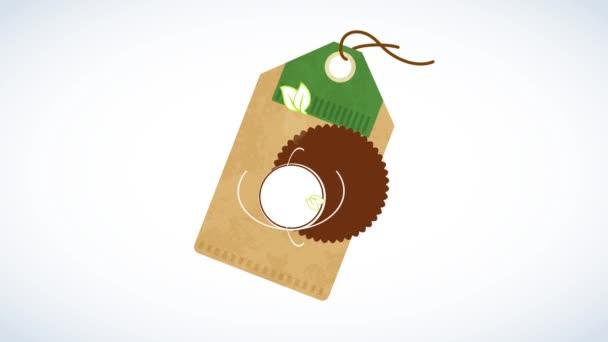 Mozgása elemek alkotó egészséges szerves természetes élelmiszer termék formájában egy címke egy lekerekített pecsét díszített levelek és retro tipográfia