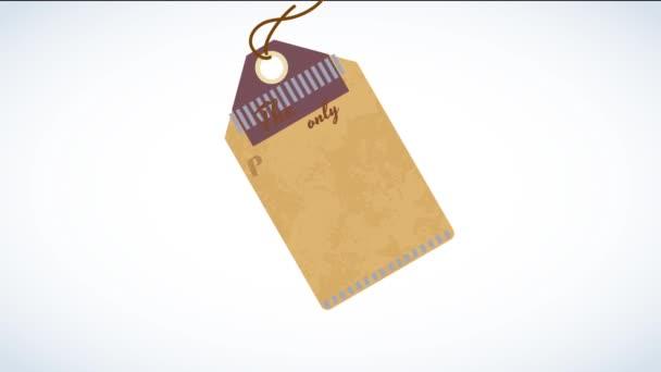 Různá směs pohybů Animační kofeinový výrobek s klasickým ofsetem protilehlé dimenze rozmístěné podél hnědé lepenkové značky s provazem směrem k viset plovoucí na prázdné plátno
