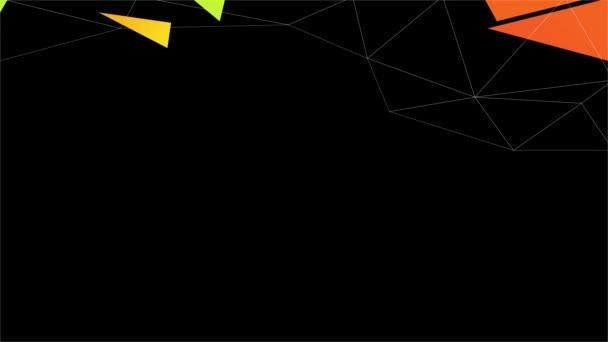 Jaro a škálování Pohyb vegetariánské opce Menu zdobené oranžovou třešní a strhující abstraktní vzor s 3D polygony a trojúhelníky pádů pomocí kurzívou Typografie