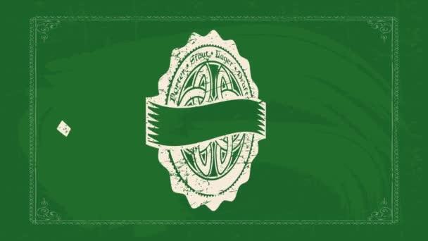Chaotische Bewegung der Elemente, die Irish Pub Vintage-Konzeptkunst mit keltischem Mandala in der Mitte aus welligem, abgerundetem Schicht- und Textmaterial bilden, das über grüner Tafel herumgeschrieben wird