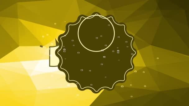 Tavaszi és Scaling Motion Of Oktoberfest Koncepció Tudomány Szavakkal Brew az egész világon Írta: Round Up túlcsorduló szemüveg pirítóssal sárga 3D háromszög háttér