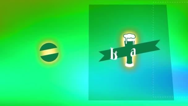 Inerciális mozgás gyorsasággal rohanó St Patricks Day Brew bemutatása pontozott vonalakkal a vágáshoz és sörözéshez Üvegáradás habokkal