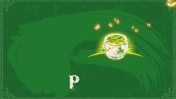 Scaling Easy lassít a tavaszi hatás Animáció kívánunk magadnak Pot O kincs a Szent Patrik nap Vintage reklám a zöld táblán