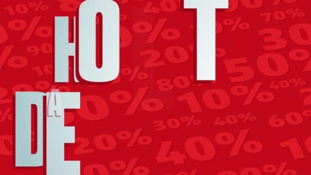 Bounce Spring Scale und Folienanimation von Hot Deal Best Sale mit großem Schriftzug über rotem Hintergrund geschrieben, der mit verschiedenen Quantitätsanteilen entworfen wurde
