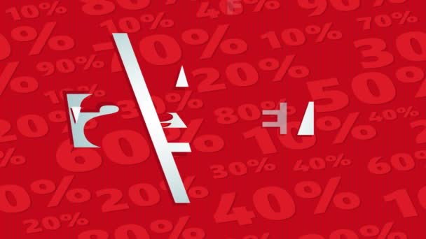 Smooth Speed Ramping Animation Of Mall Store Sale Advertisement For Window Shoppers Putting Save From 20 Up 50 Procent On Red Background