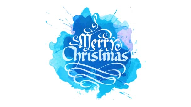 Spring And Scaling Motion Of White Merry Christmas Handwritten Medieval Calligraphy Style With Wavy Ornaments Over Blue Watercolor Stain On Background
