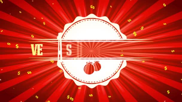 Scaling And Spinning Motion Of Spanish Feliz Navidad Ventas De Vacaciones Xmas Vacation Sales With Greetings Text On Glossy Symbol Over Red Background