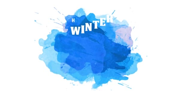 Speed Ramping And Slide Animation Of Winter Holidays Christmas And New Year Best Sale Announcement With Folded Ribbon And Snowflake Line Over Bluish Watercolor Background