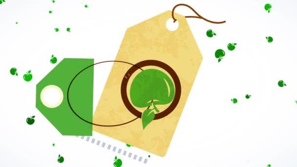 Skákající ploché prvky tvořící plovoucí samolepku pro zelenou čerstvou zdravou výživu podporující zeleninové a zdravé stravovací návyky s rančem