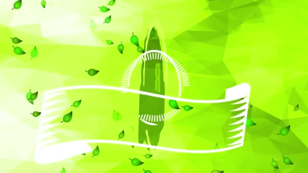 Inertial Bounce And Spin Animation Of Small Healthy Fresh Bio Nurture Product Mark Pasted In Right Bottom Corner Of Green Abstract Triangular Template Scene