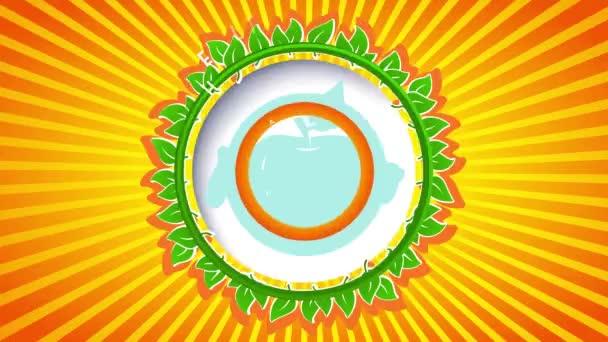 Skákající v kombinaci s inerciální snímek Prémiové kvality produktů Maloobchodník Prodej zdravé farmy čerstvé organické potraviny s pulzujícím kulatým symbolem obklopen zelenými listy