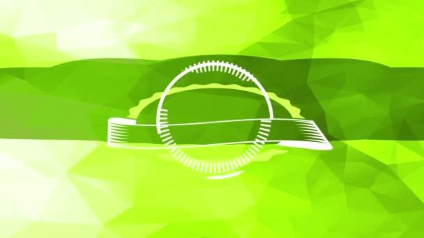 Lelassítja az animáció tavaszi hatása a kis egészséges friss bio élelmiszer termék szimbólum beillesztett jobb alsó sarkában zöld elvont háromszög alakú minta háttér