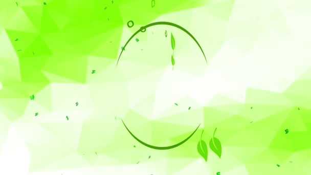 Inertial Bounce And Spin Animation Of Artistic Healthy Nourishment Sign From Large Life Eco Friendly Products Organization With Green Writing Over Abstract Geometrical Scene