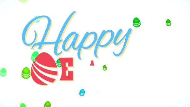 Lineare Skalierung Animation des zukünftigen lächelnden Osterzeichens mit abstrakten Eiern, die Plüsch-farbige Buchstaben mit Schwebeeffekt über klarer Szene verzieren