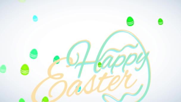 Bouncing Flat Elements Forming Minimalist fröhliche Ostern Aufruf Schreiben mit einem traditionellen Ei Figur Gebäude aus fließenden Buchstaben auf dem Hintergrund schweben