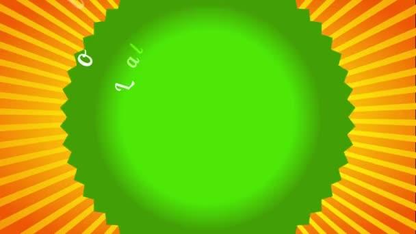 Bouncing kombiniert mit Inertial Slide of Farm Frische Bio-Lebensmittel mit abgerundetem Emblem, das Fischaugen-Effekt auf lebendigen Sunburst-Hintergrund verleiht