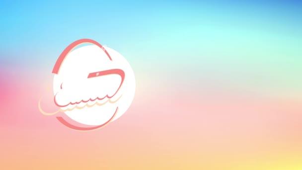 Leichte Entschleunigung mit Frühlingseffekt Animation von fröhlichen Oster-Nachbarn beim Dinner Bankett Einladungskarte mit abstraktem Eierschalenbau aus altmodischen Buchstaben auf rosa Szene
