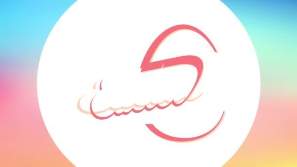 Verlangsamung der Animation mit federndem Effekt von glücklichen Osternachbarn, die eine Einladungskarte für Dinner Party mit abstrakter Eierformung aus Vintage-Lettern auf rosa Hintergrund sammeln