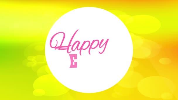 Spring Bouncing Chaotische Bewegung der modernen Happy Easter Cover Card mit Vintage Letters Inside White Circle und vor lebendigen Farbhintergrund mit Blasen