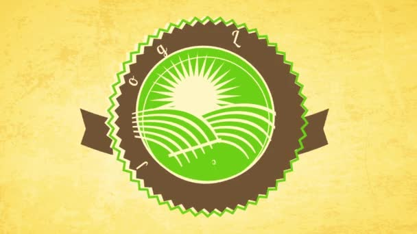 Springing Element Moving A Order to Compose Retro Round Trademark for Business Offering local grown wn Farm Fresh Organic Food Products On Paper Texture Surface