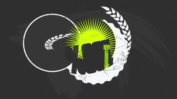 Motion Of Elements alkotó rock and roll stílus Organikus zöldség és gyümölcs farm jel bemutató Vintage kréta betűkkel fekete háttér