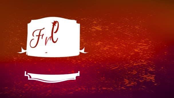 Trägheitsbewegung von einfachen Elementen, die frisch gebrühten Kaffee Verpackungspapier-Muster mit glänzend roter Textur Szene und weißen antiken Symbol in der Mitte bilden