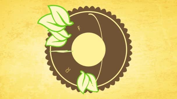 Motion of Elements alkotó követelmény Címke friss vegán élelmiszer kerék, mint az ikon újrahasznosított ökópapír háttér