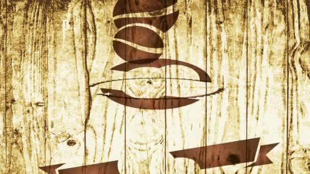 Csúszás tavaszi hatással Animáció tökéletes kávébab producerek emblémát cikcakkos élek és vintage stílus gravírozás elemek fa textúra háttér